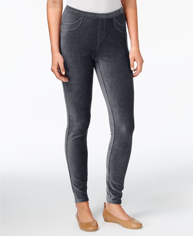 3fbe02e855d51 Style & Co. Womens Corduroy Leggings Carbon Gray Comfort Mid Waist M New # Styleco #CasualGoingOutActive