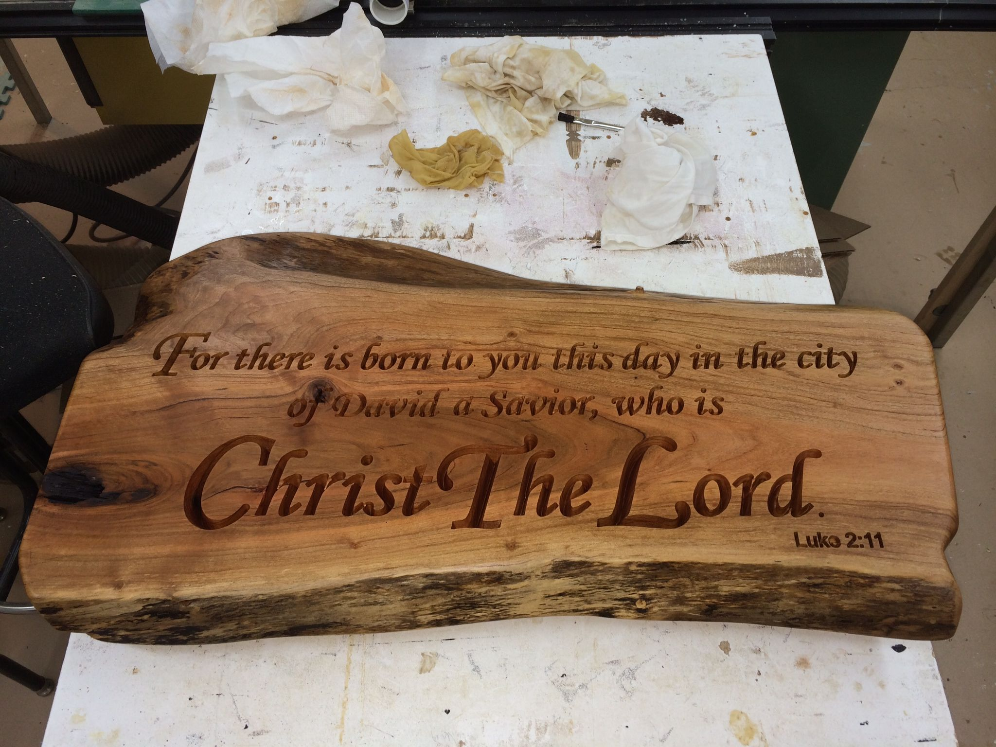Cherry Slab engraved with a bible verse. This was a Christmas gift ...