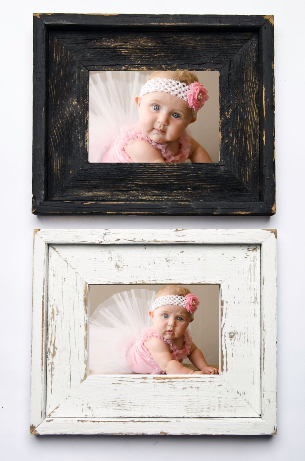 Set of TWO 8x10 Stacked Rustic Barnwood Distressed Rustic Picture ...