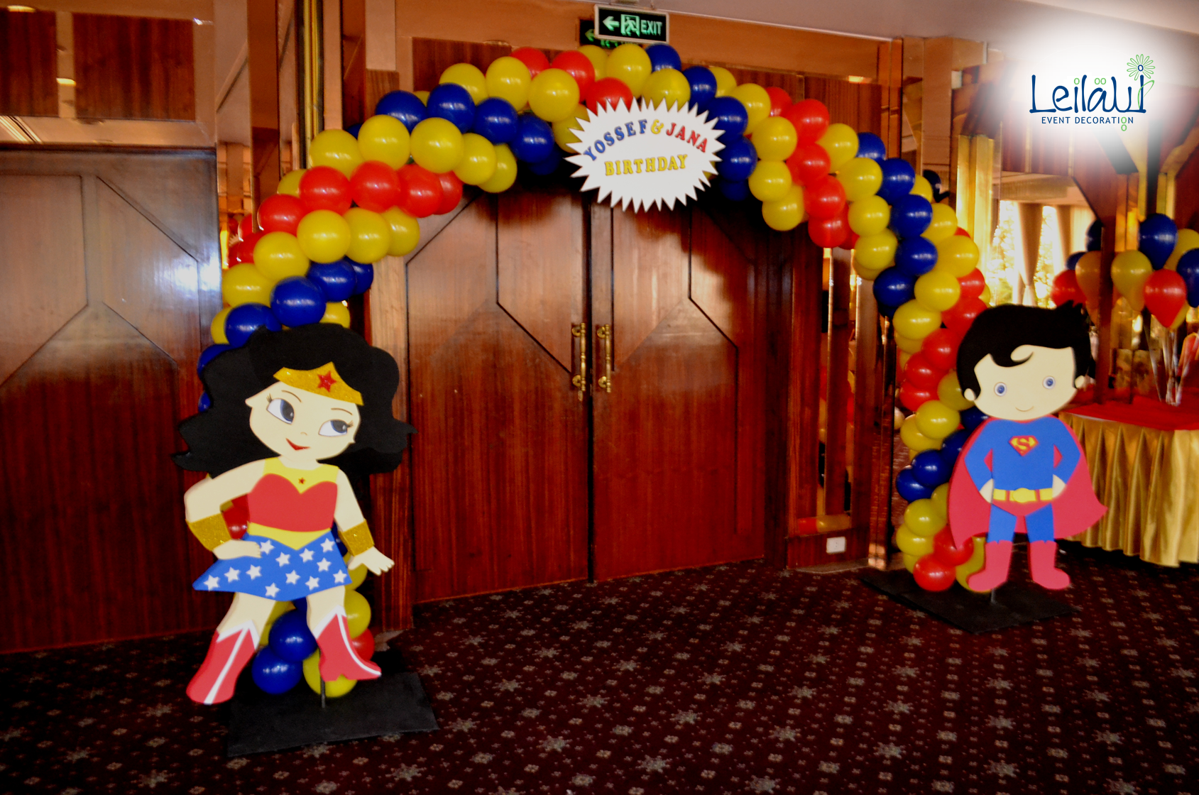 Entrance Balloon Arch for Super Man and Wonder Woman Themed Birthday