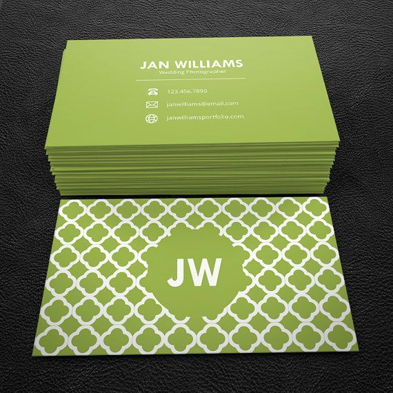 Green and white quatrefoil premade business card by brandi lea green and white quatrefoil premade business card by brandi lea designs on etsy https reheart Image collections