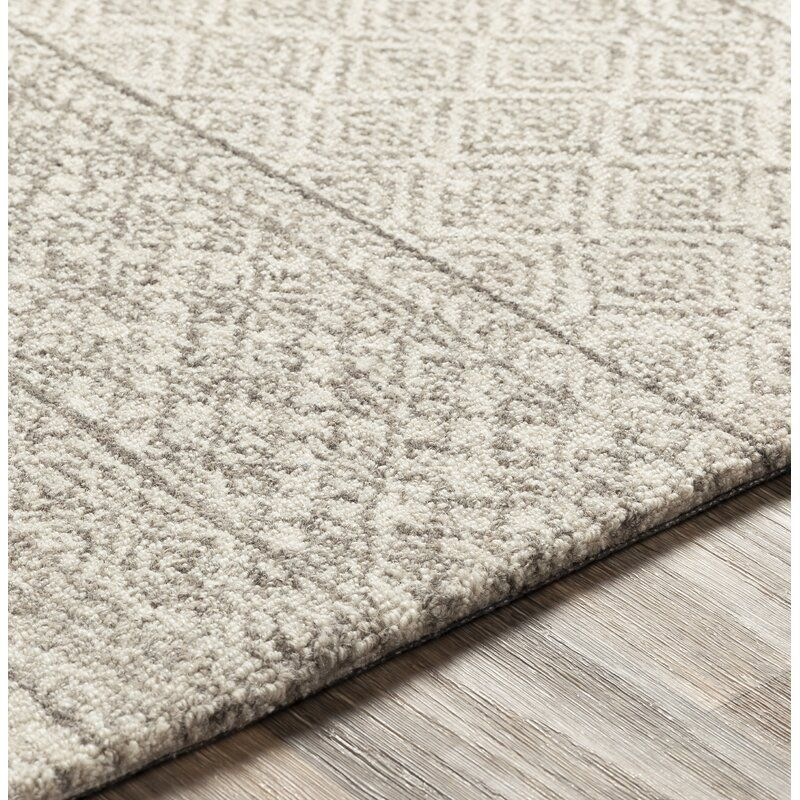 Joss Main Shiloh Geometric Handmade Tufted Wool Gray Cream Area Rug Reviews Wayfair In 2020 Cream Area Rug Round Area Rugs Rugs