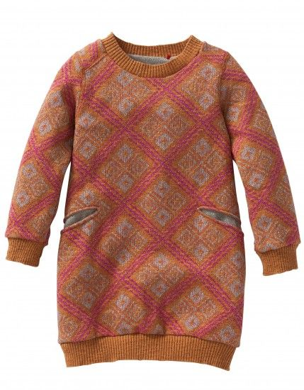 Lovely knitted dress made of soft cotton in warm fall colors. With slit pockets on the front.