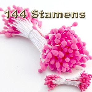 Floral Stamen, Vintage Solid, 144-pc, White, Matt Hot Pink
