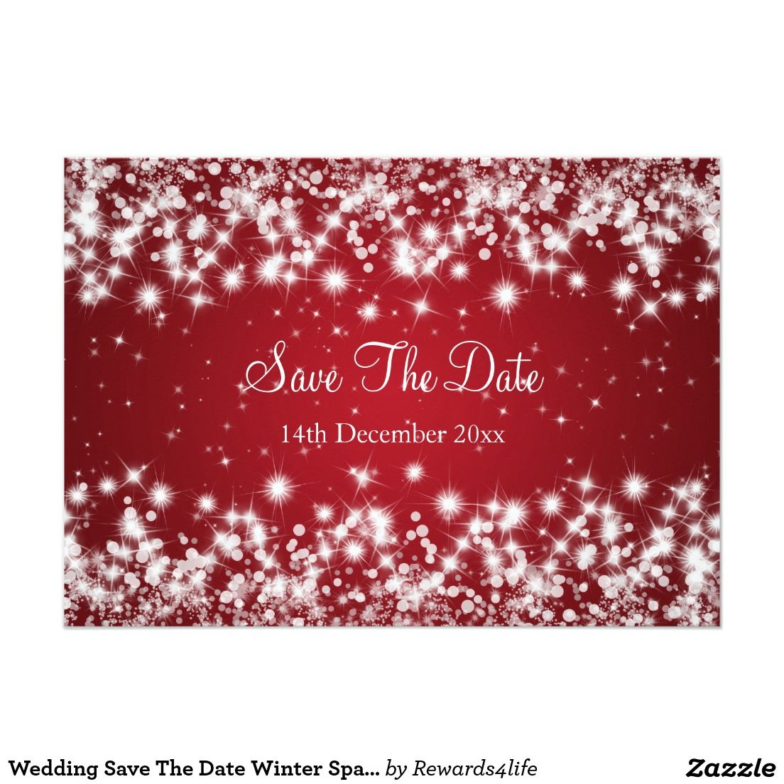 Wedding Save The Date Winter Sparkle Red | Wedding: Save the Date ...