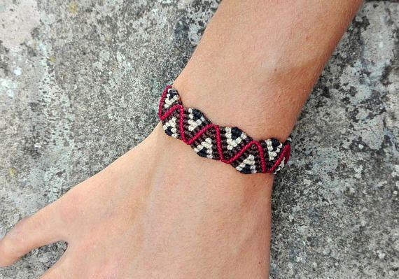 Bracelet macramé homme femme motif zig zag