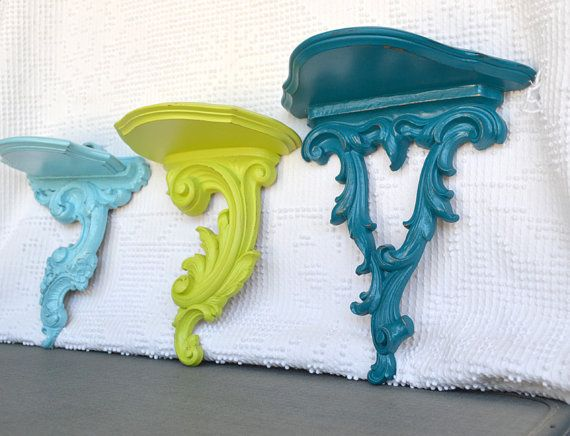 Teal Turquoise Aqua Lime Green Wood Shelves Set of 3 by BeautiSHE, $42.00