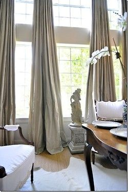 curtains in formal living room | House ideas | Silk drapes ...