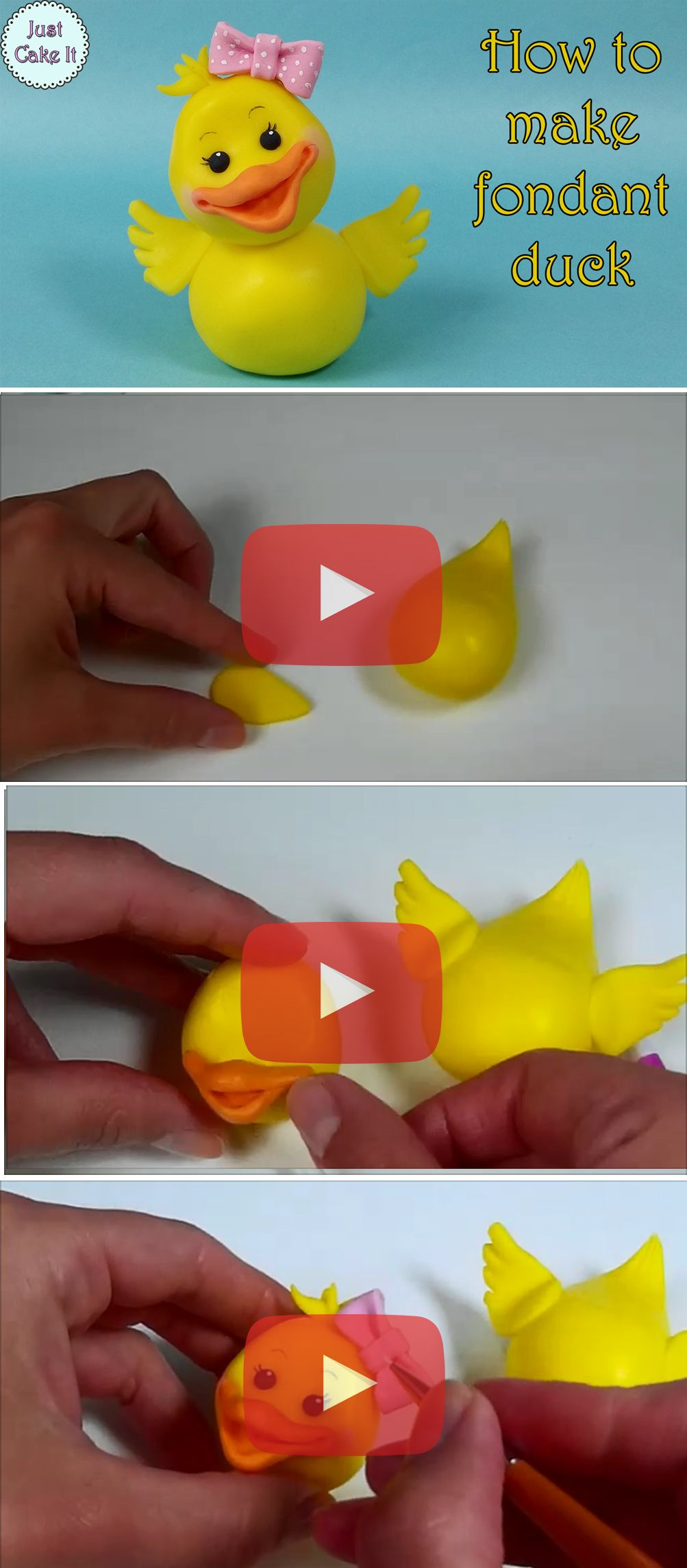 How to make fondant feathers youtube - Tutorial For A Fondant Little Duck Cake Topper Watch It Here Https