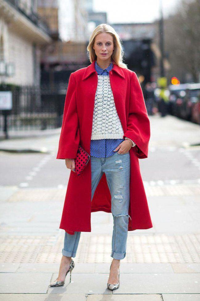 Como combinar abrigo rojo