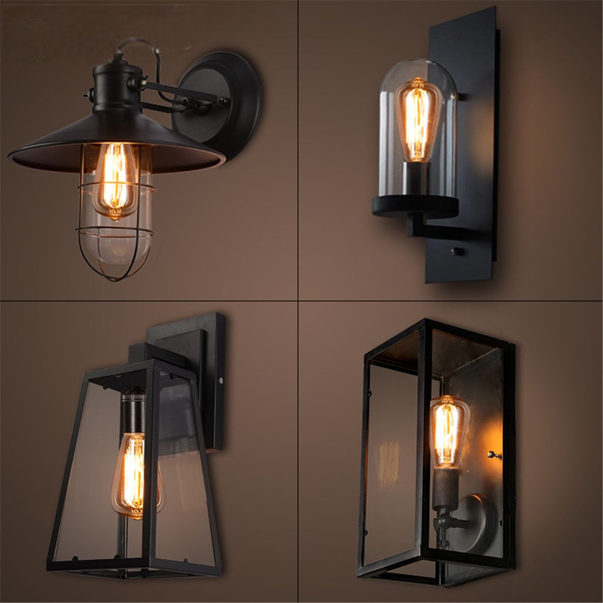 Outdoor Vintage Wall Sconce Lantern Lamp Stainless Steel Porch Yard Light Black Wall Sconce Lantern Outdoor Wall Lamps Vintage Industrial Wall Light