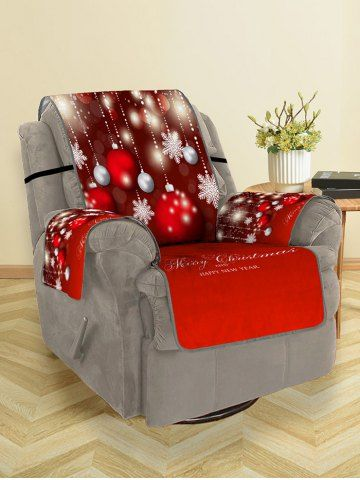 Christmas Balls Snowflake Greeting Pattern Couch Cover