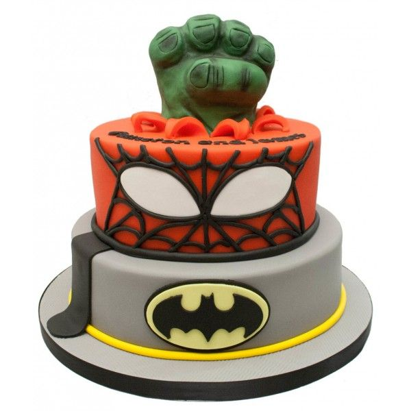 Batman Spiderman Hulk Birthday Cake Hulk birthday cakes Hulk