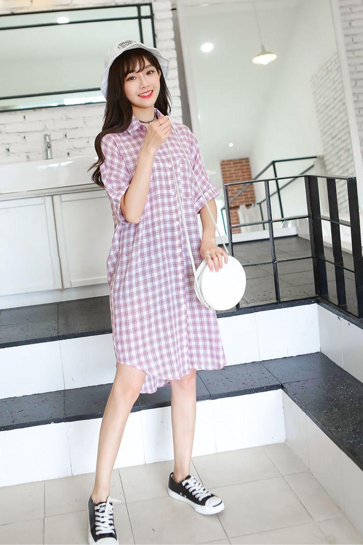 cute pink purple checkered dress south korea airport