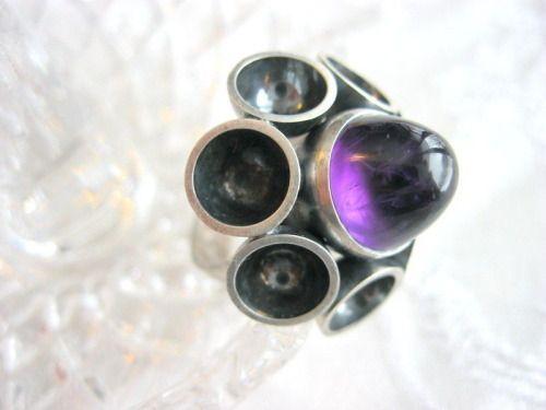 #forsale > Elis Kauppi for Kupittaan Kulta (FI), vintage modernist sterling silver amethyst ring, 1960s. #finland | finlandjewelry.com
