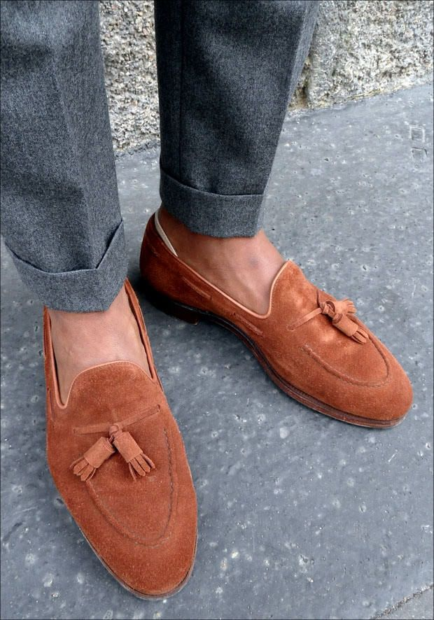 COGNAC SUEDE TASSEL LOAFERS | Hand-made, custom tassel loafers. Made in Europe with suede leather and matching tassel. | Price: $295.00