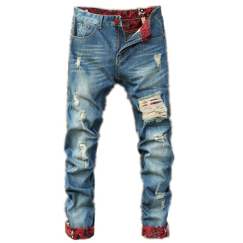 Men Ripped Jeans Runway Distressed Slim Mens elastic jeans denim Biker Jeans  Hiphop Pants Washed Jeans For Men Blue