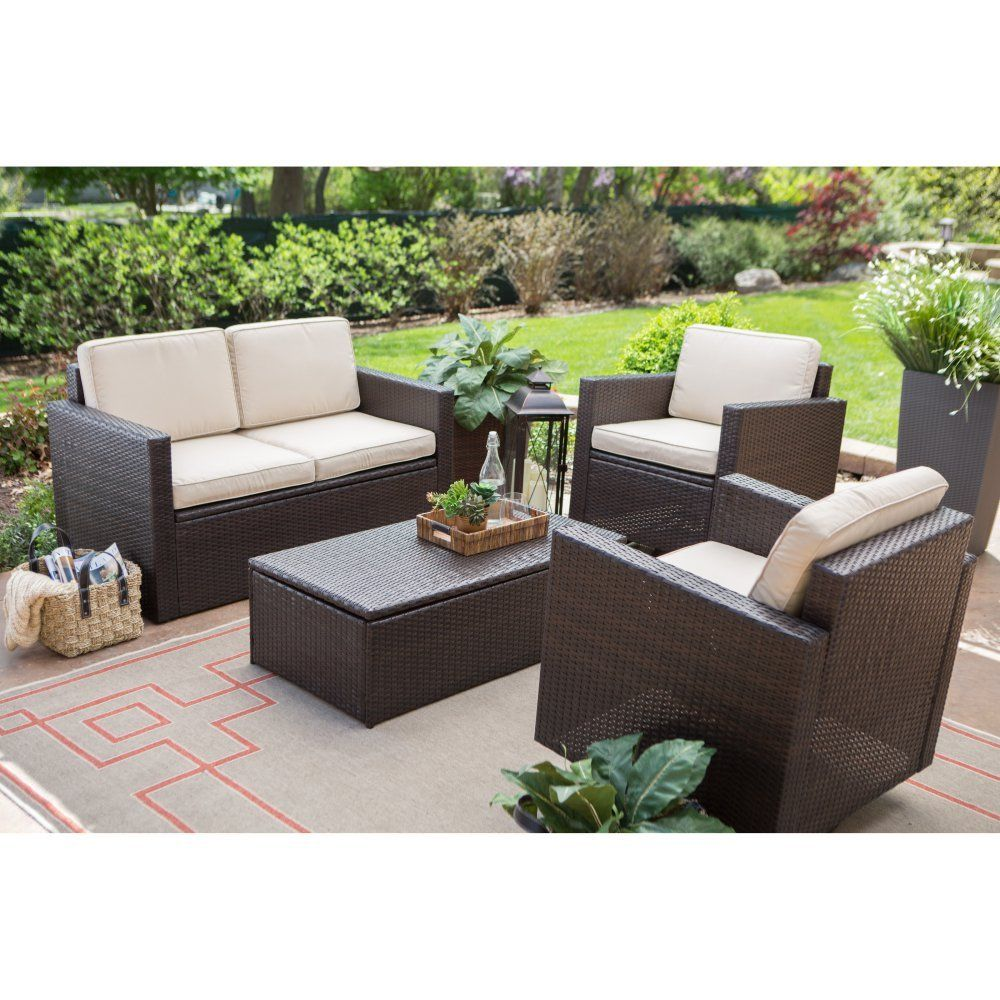 Coral Coast Berea Wicker 4 Piece Conversation Set With Storage   Conversation  Patio Sets At Hayneedle