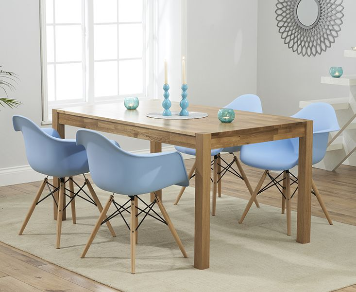 Oxford 150cm Solid Oak Dining Table With Charles Eames Style DSW Eiffel Tub Chairs