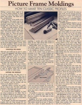 784 Making Picture Frame Molding Other Woodworking Plans And