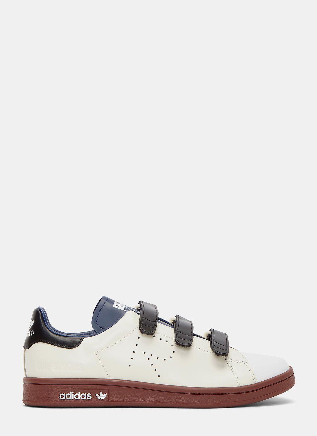 Raf Simons Unisex Velcro Strapped Stan Smith Comfort Sneakers In Cream In Cream White Dark Blue Fox Brown Modesens Comfortable Sneakers Sneakers Velcro Straps