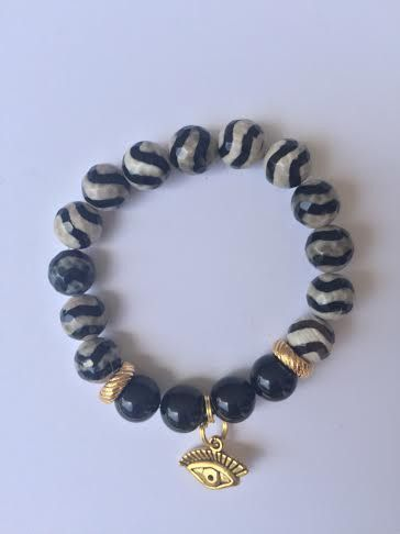 Evil Eye Black Bead Gold Round Bracelet