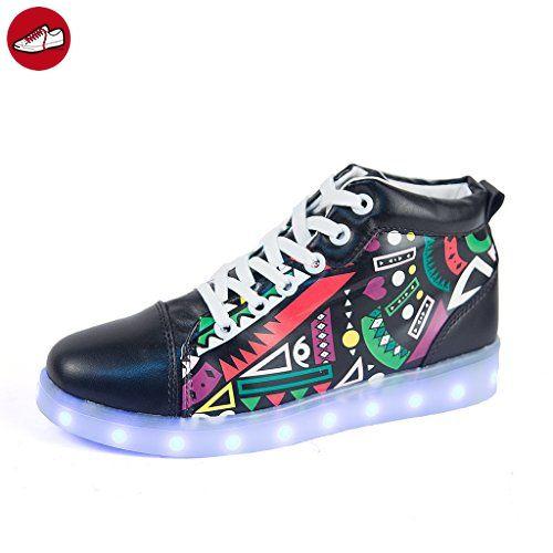[Present:kleines Handtuch]Weiß EU 40, Neu Sport Sneakers Blinkende Damen Light Licht Top Led Farbwechsel Leuchtende High