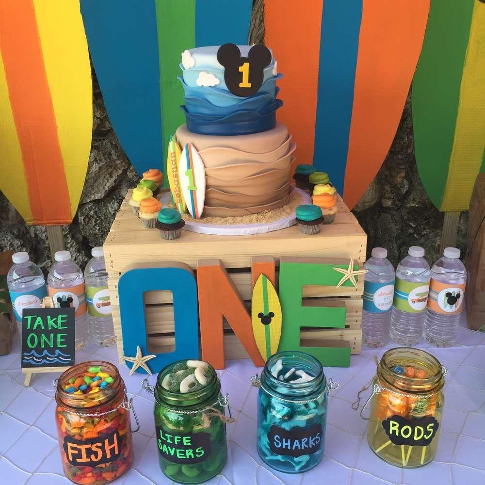 Mickey S Surf Theme Birthday Party Ideas Luau Birthday Party