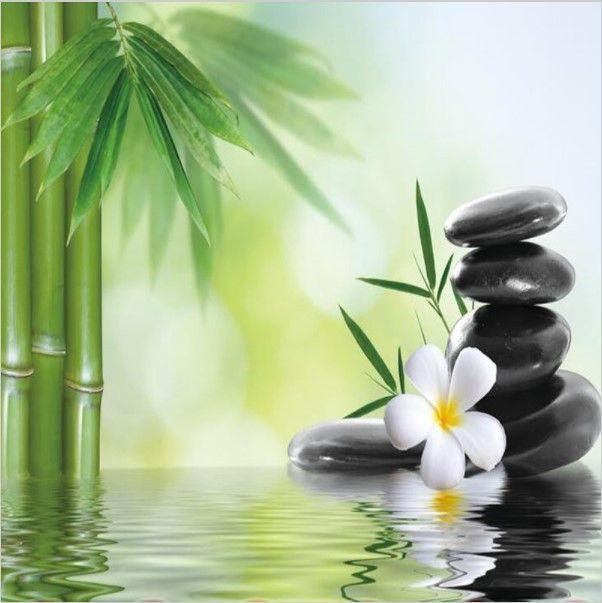 3d Bamboo Water Zen Stones Custom Wallpaper Mural Zen Garden Meditation Mural