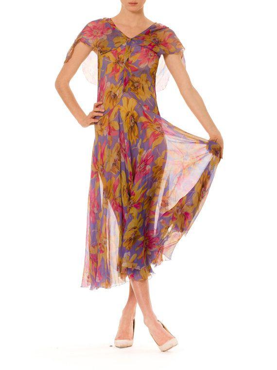 1930s Vintage Silk Chiffon Floral Dress  Size: by MORPHEWCONCEPT