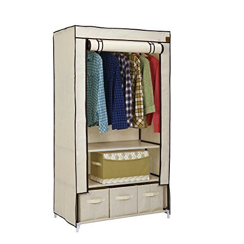 VonHaus Canvas Wardrobe Clothes Cupboard Hanging Rail Storage with 2 Shelves & 3 Drawers - Beige - 88 x 50 x 160cm VonHaus http://www.amazon.co.uk/dp/B00TOEOKPY/ref=cm_sw_r_pi_dp_mXsewb1VWMH9F