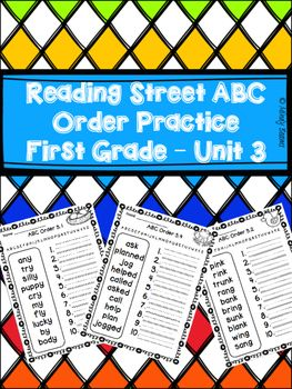 Reading+Street+First+Grade+Unit+3+ABC+Order+Practice+I+have+included+a+page+for+each+book+out+of+the+unit.+There+are+ten+words+on+each+page.+The+words+are+the+spelling+words+for+the+unit.This+is+part+of+a+bundle+that+can+be+found+here:Reading+Street+First+Grade+ABC+Order+Bundle