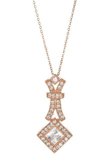 Adam Marc Pave CZ Square & Fancy Drop Pendant Necklace 14k rose gold vermeil