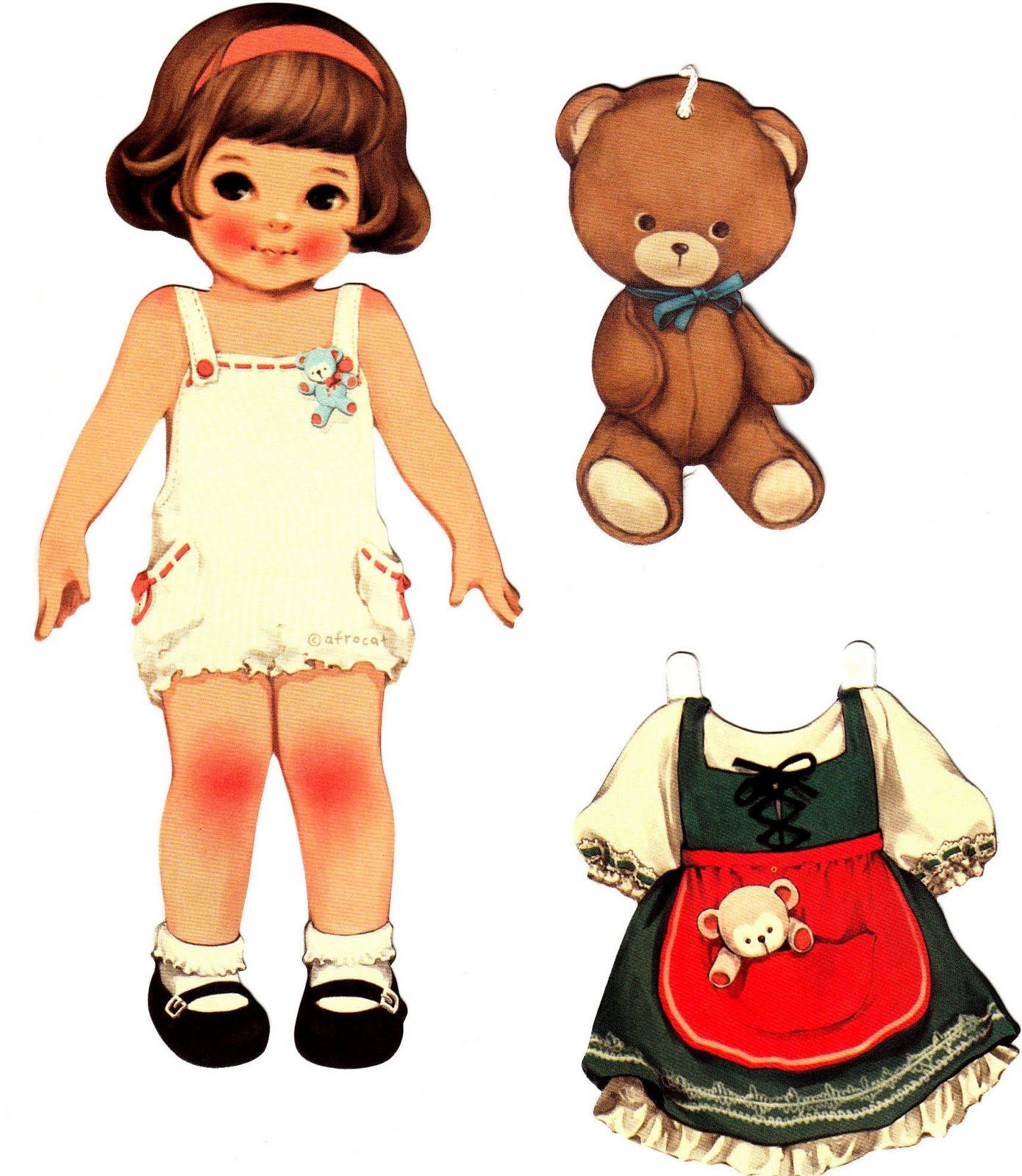 LITTLE GIRL with TEDDY BEAR | PAPER DOLLS | Pinterest ...