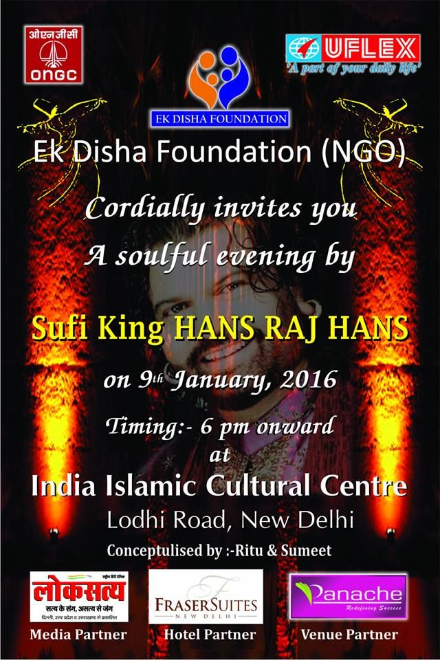 Ek Disha Foundation (NGO) Cordially invites you a soulful evening by Sufi King HANS RAJ HANS !!