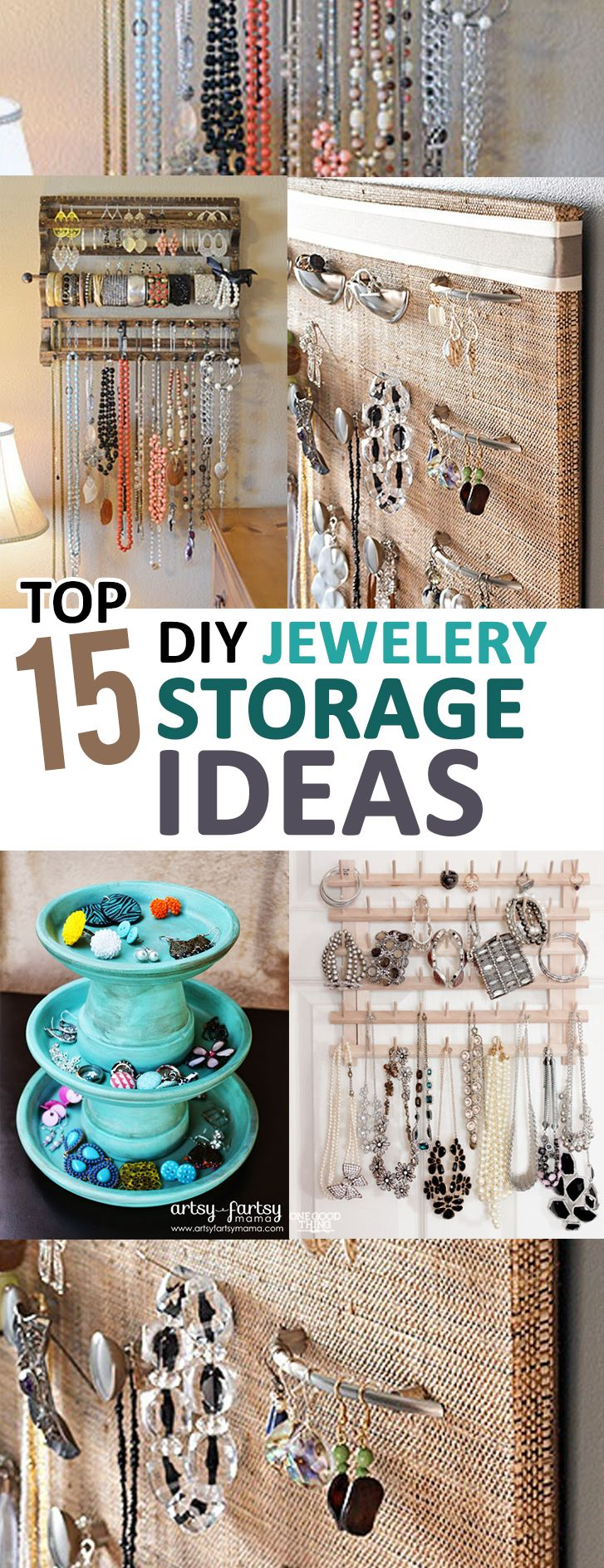 Top 15 DIY Jewelry Storage Ideas DIY storage Storage ideas and