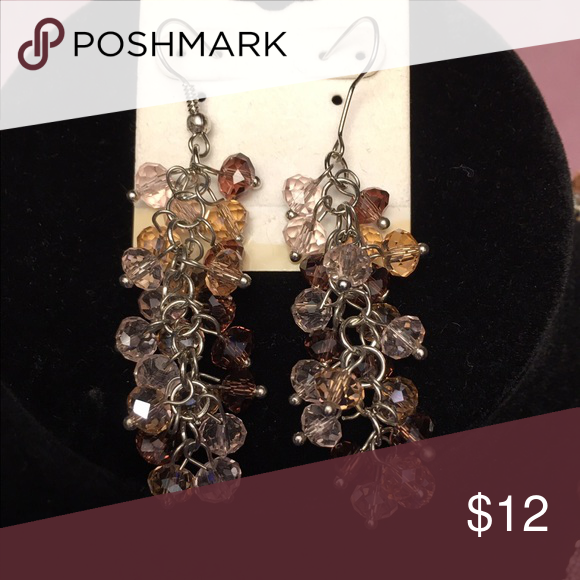 """Brown multi color cut crystal dangle earrings Brown ombré mix of cut crystal beads make up this elegant, attractive pair of dangle earrings. Silver setting. Matching 18""""choker and 42"""" long necklaces also available in my closet. Avenue Jewelry Earrings"""