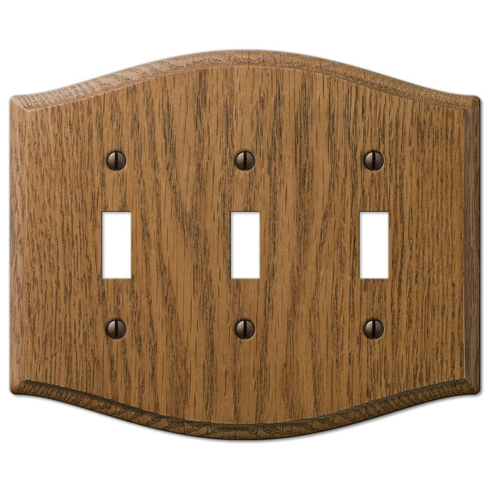 Country Medium Oak Wood - 3 Toggle Wallplate