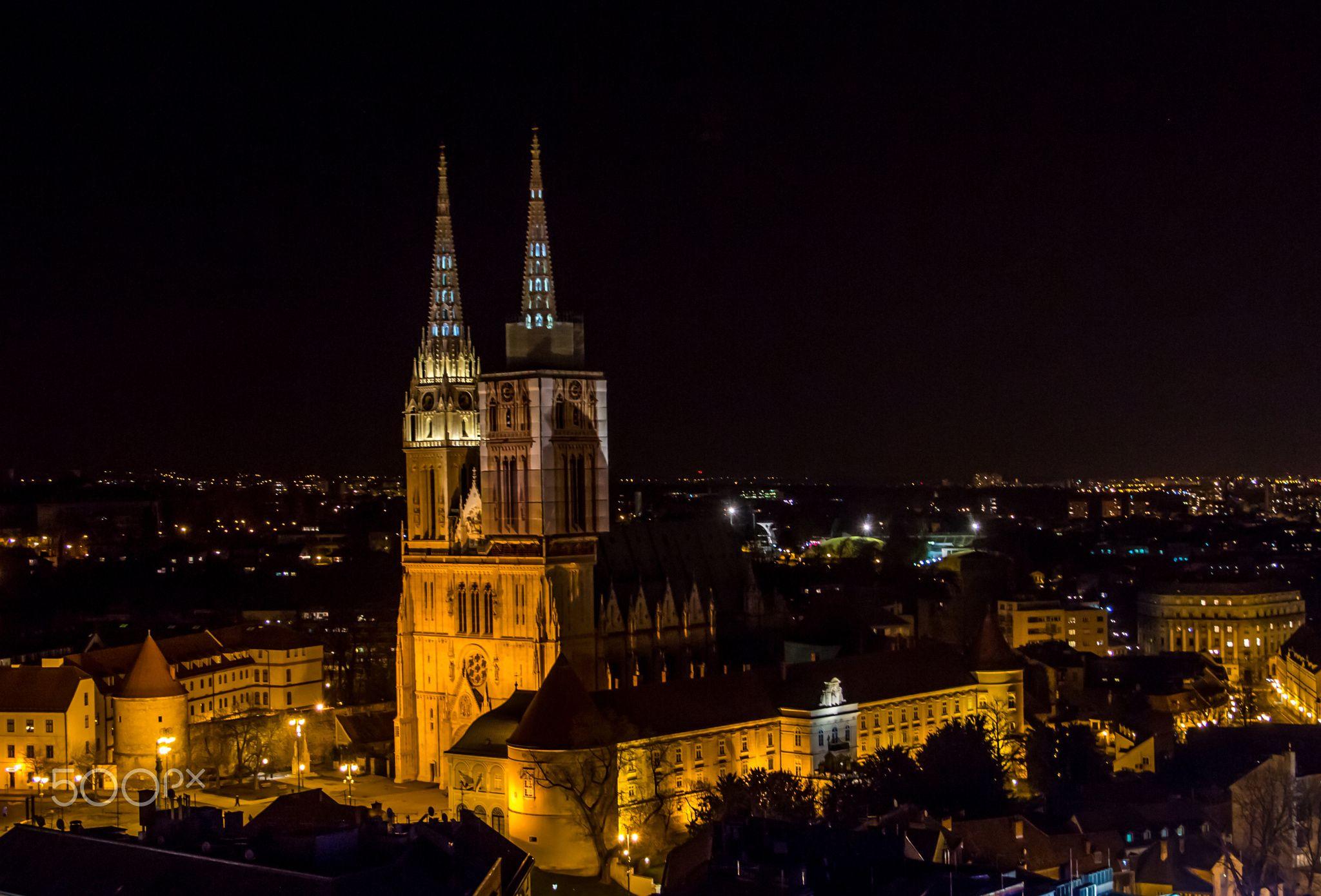 Katedrala Zagreb Croatia Night City Zagreb