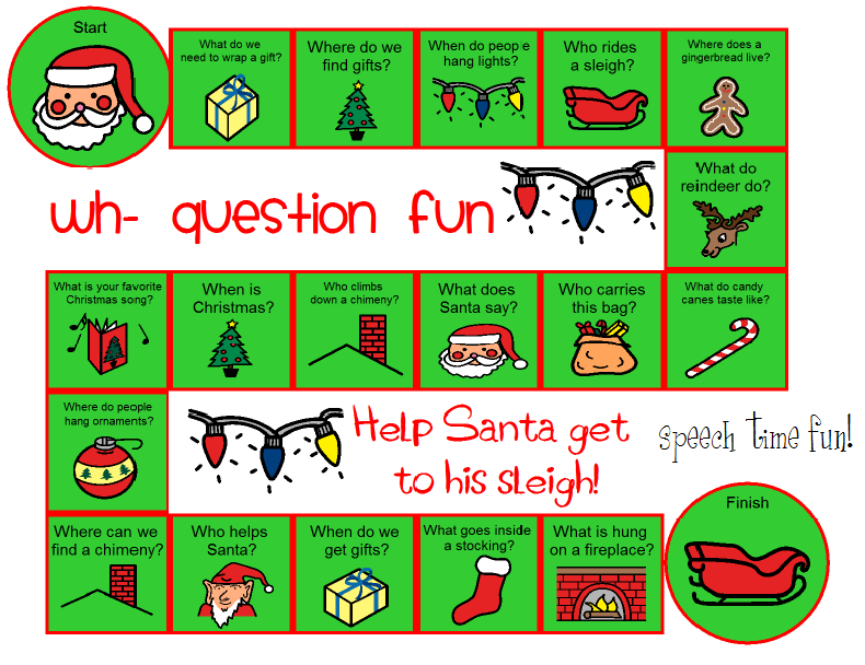 speech time fun wh question christmas board game freebie pinned by sos inc resources follow. Black Bedroom Furniture Sets. Home Design Ideas