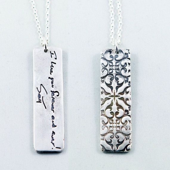 Actual Writing Signature on a Silver Pendant Signature Necklace