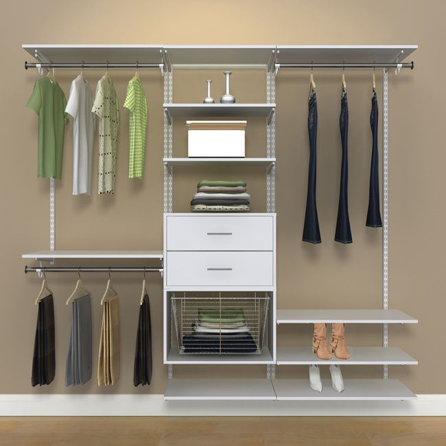 This 7 Foot Freedomrail White Closet Kit Is The Perfect Storage Solution For Any Room In Your House Completely Adjule Move Shelves Up And