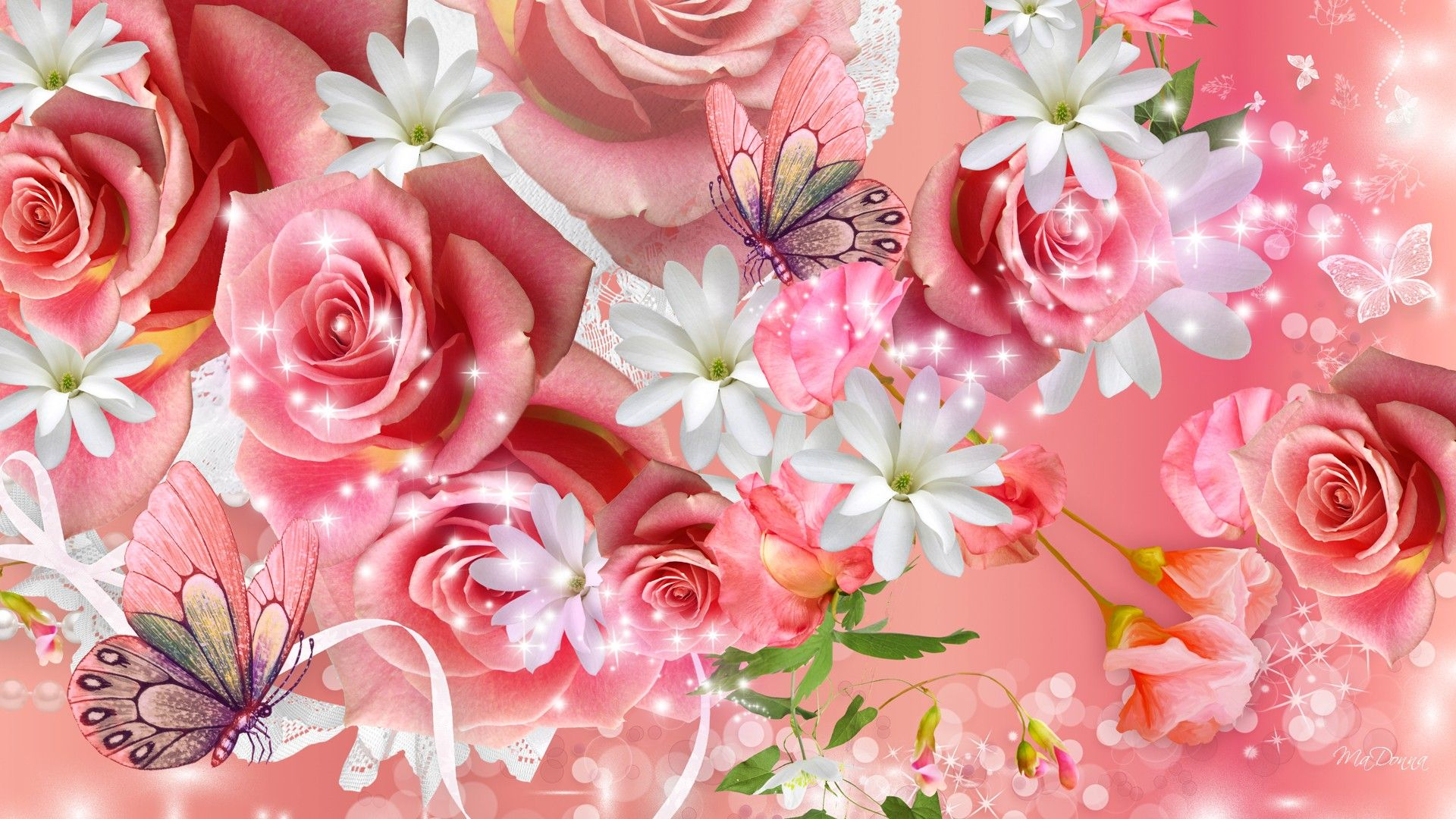 Pink Rose Butterfly | Butterfly with Rose | Flower wallpaper ...