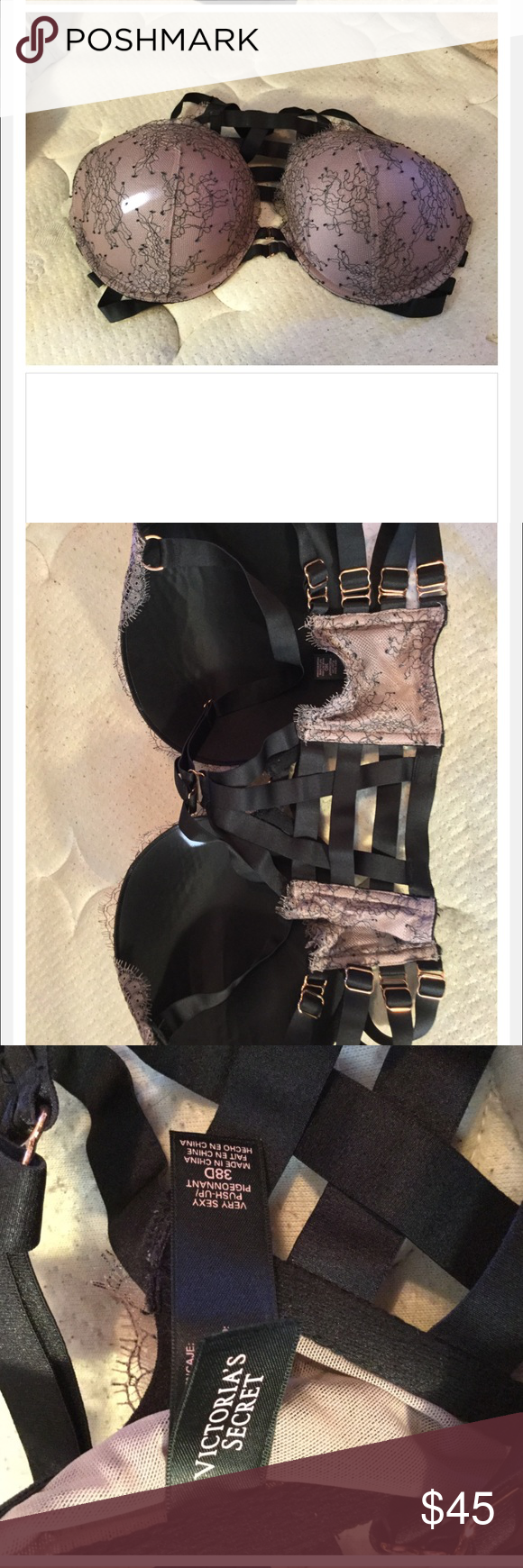 Vs caged bra This gorgeous Victoria bra is size 38D. It doesn't fit me. But it's super beautiful! Perfect for going out clubbing or date night. 💕 make an offer 🌺 Victoria's Secret Intimates & Sleepwear Bras