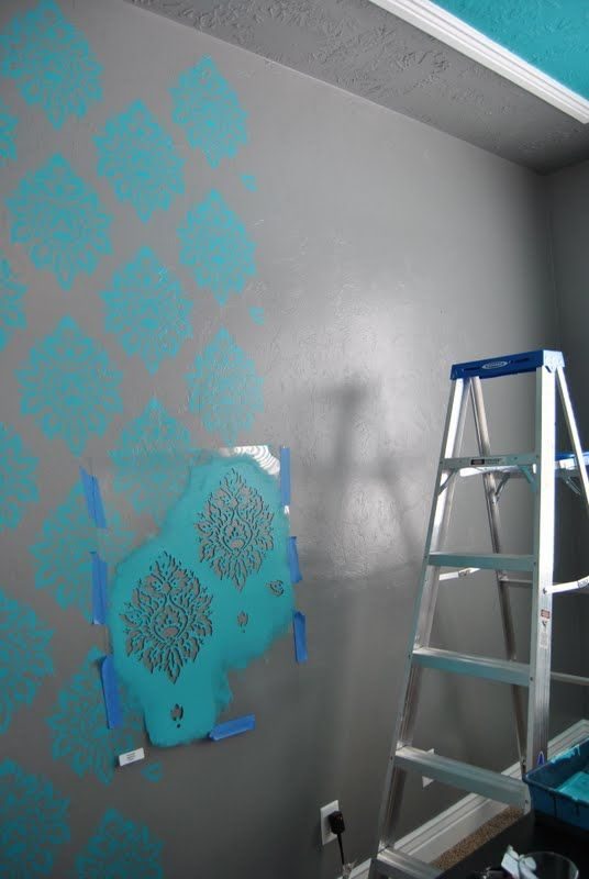 Simply Sadie Jane Stencil Paint Flat Wall In Bedroom