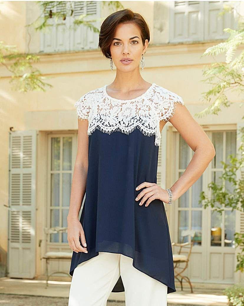 ba5744f4a57 Joanna Hope Lace Trim Tunic | Products | Lace trim, Tunic, Occasion wear