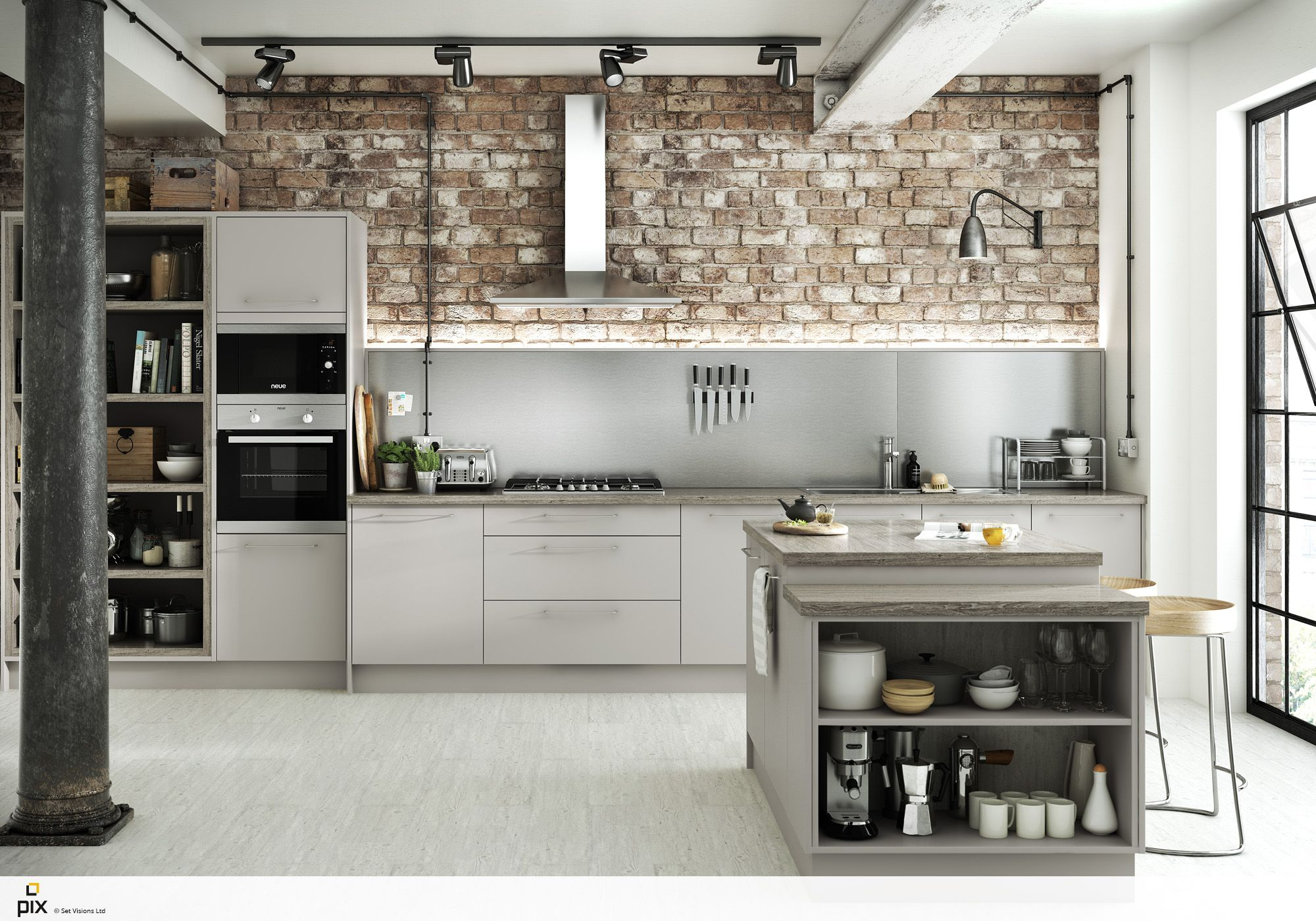 The Open Storage In This Matt Dove Grey Kitchen Is