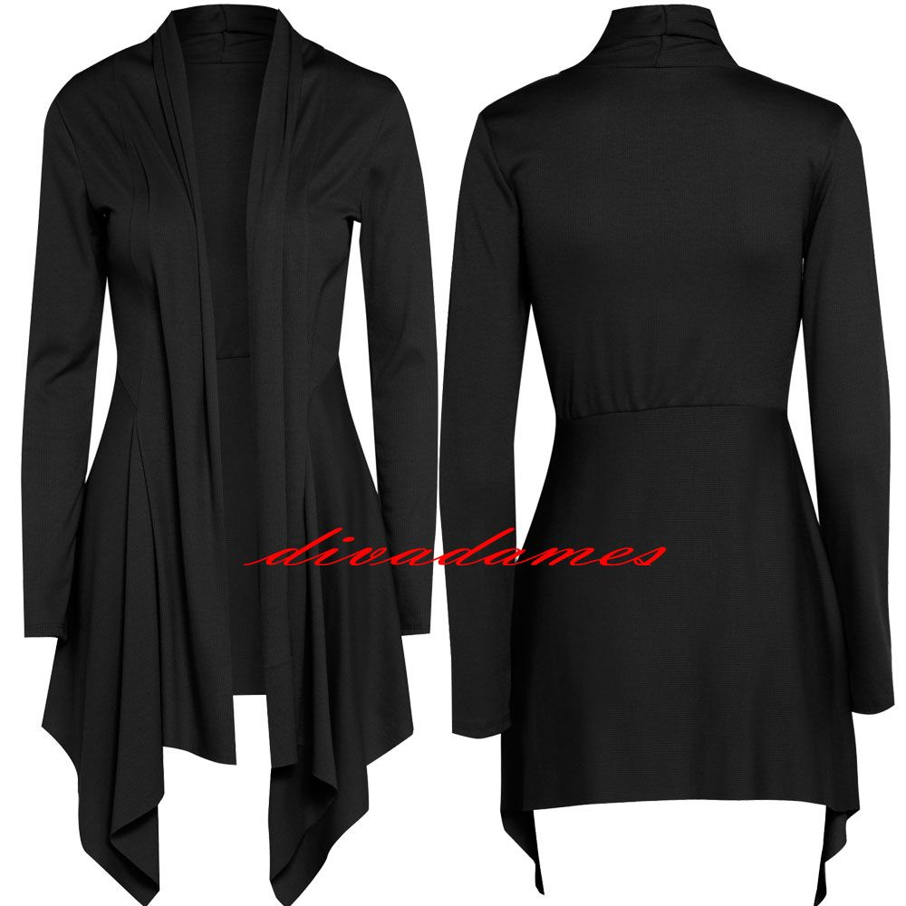 Details about WOMENS LONG SLEEVE WATERFALL CARDIGAN LADIES SHRUG ...