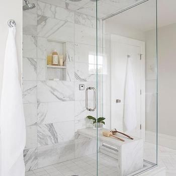 Marble Waterfall Bench In Shower With