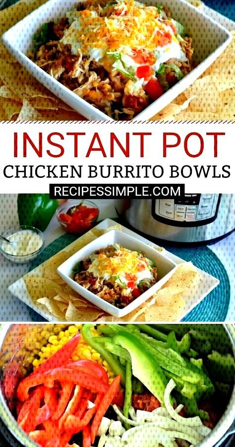 Instant Pot Shredded Chicken Burrito Bowls - -